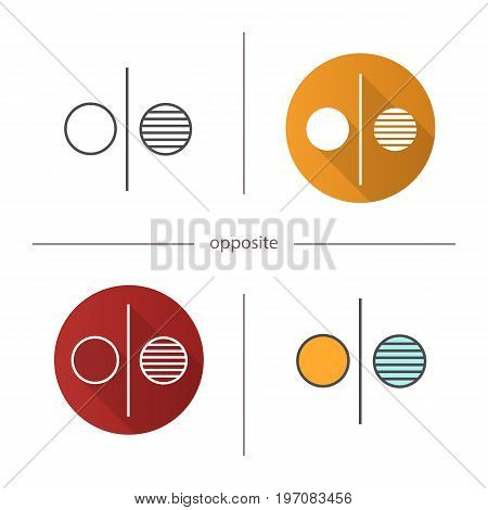 Opposite symbol icon. Flat design, linear and color styles. Opponents abstract metaphor. Isolated vector illustrations