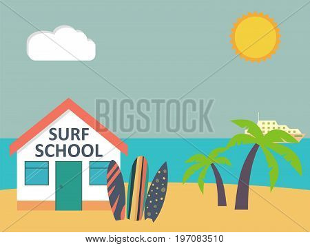 Travel and vacation. Surfboards standing in sand beach near surf school. Vector illustration.