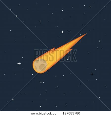 A burning comet flying in space and stars. Colorful icon in the flat style. Asteroid in the sky. Vector illustration.