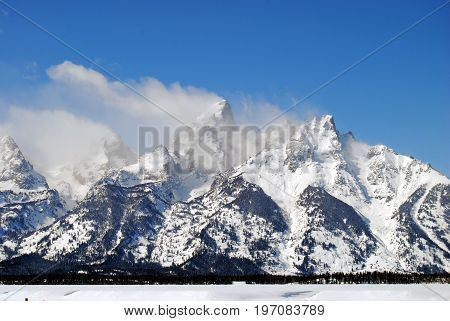 The snow covered peaks of the Grand Tetons near Jackson, Wyoming