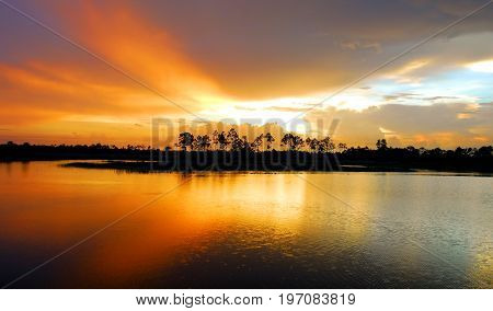 Sunset across the wetlands of south Florida