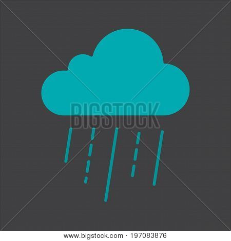 Rainy cloud glyph color icon. Silhouette symbol on black background. Negative space. Vector illustration