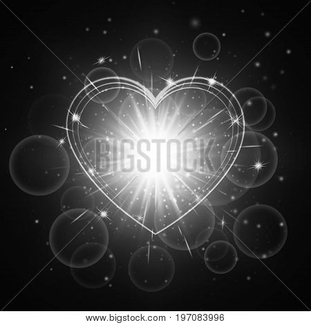 Luminous background with shining light. Romantic design with a bright glowing heart.