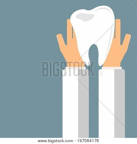 Doctor hold teeth in hands. Transplantation or treatment teeth. Healthcare concept. Vector illustration.