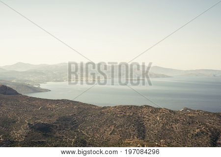 sea, mountains landscape, view from top of the mountain