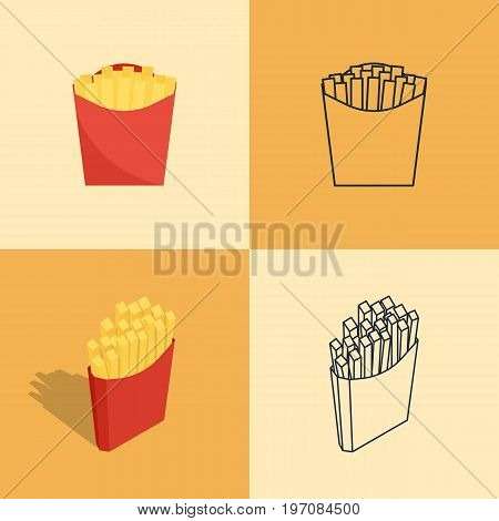 Set Of Colorful Icons Of French Fries