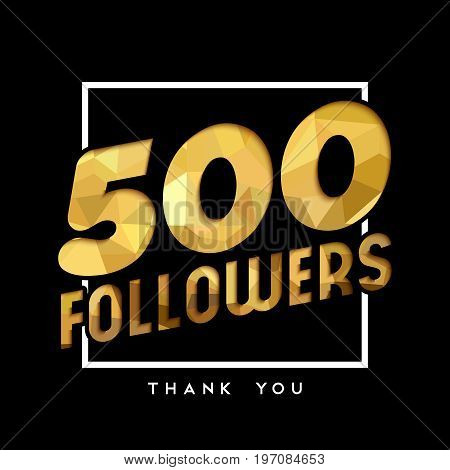 500 Gold Internet Follower Number Thank You Card