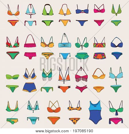 Vector hand drawn set with various women swimsuits. Bright colors and dark outline for different bikini collection. Fashion summer drawing with imperfections
