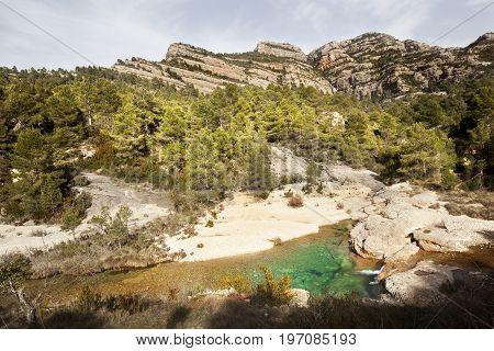 Ulldemo river and Galera peak in Los Ports mountains park natural