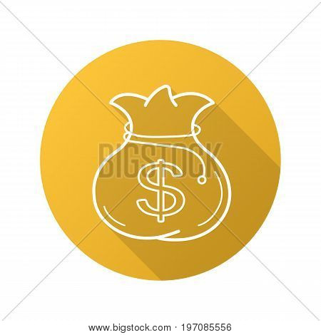 Bag with money flat linear long shadow icon. Sack with rope and dollar sign. Vector outline symbol