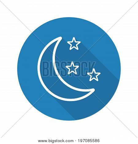 Moon and stars flat linear long shadow icon. Night. Bedtime. Vector outline symbol