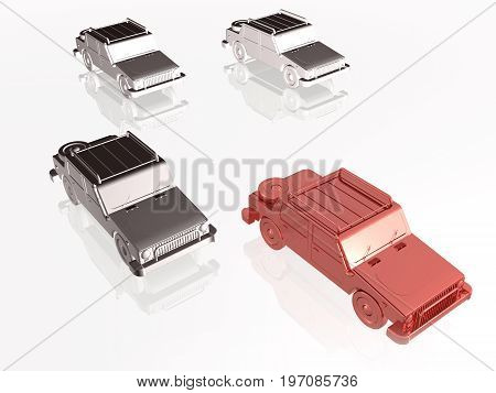 Red and grey cars on white reflective background 3D illustration.