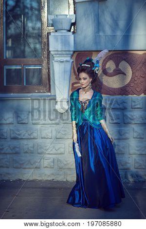 Beautiful Caucasian Girl Dressed In Rococo Style