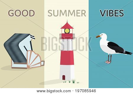 Summertime. North Sea at the beach with lighthouse, roofed wicker beach chair and sea gull.