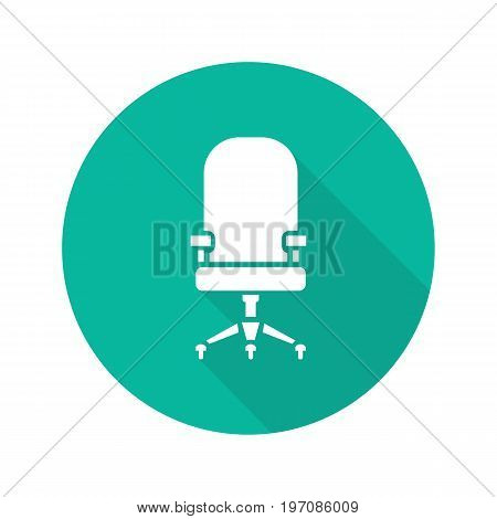 Computer chair flat design long shadow glyph icon. Office chair on wheels. Vector silhouette illustration