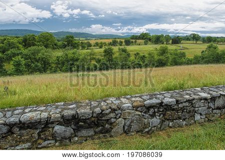 Rural Antietam civil battlefield site in Maryland.