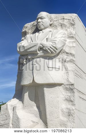 The emotional close up of the MLK statue at the national mall in Washington DC.