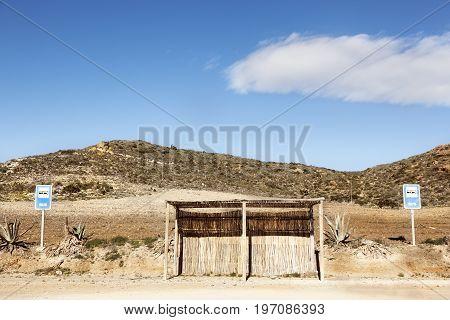 Bus stop in Cabo de Gata park natural