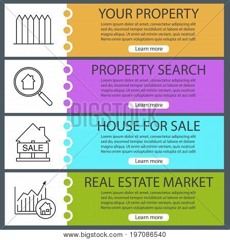 Real estate web banner templates set. Fence, property search, house for sale, market growth chart. Website color menu items with linear icons. Vector headers design concepts