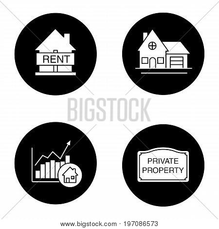 Real estate market glyph icons set. House for rent, cottage, private property sign, market growth chart. Vector white silhouettes illustrations in black circles