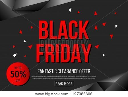 Black Friday  Sale Poster Template With Red  Text.