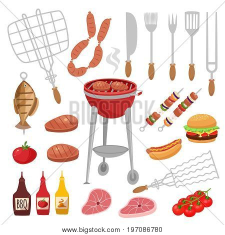 Bbq barbecue isolated elements set with outdoor grill rig bottles of sauce raw food and flatware . Cartoon style vector illustration
