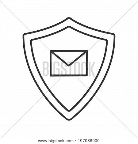 Email security linear icon. Thin line illustration. Sms message inside protection shield. Spam filter protection contour symbol. Vector isolated outline drawing