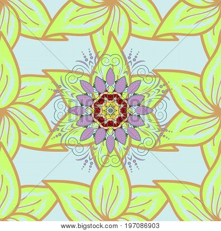 Flowers on. Watercolor hand drawn. Vector stock. Seamless background pattern.