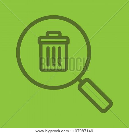 Waste management search linear icon. Magnifying glass with trashcan. Thick line outline symbols on color background. Vector illustration