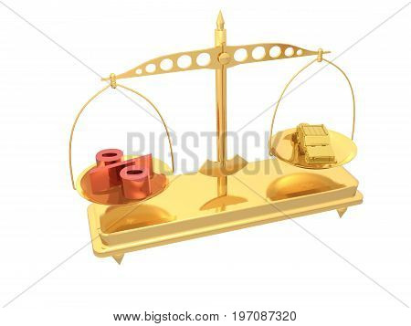 Gold car and percent with scales on white reflective background 3D illustration.