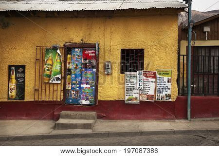 PISCO ELQUI, CHILE: August 14 2014: Little store in Pisco Elqui Valley. Chile on August 14, 2014
