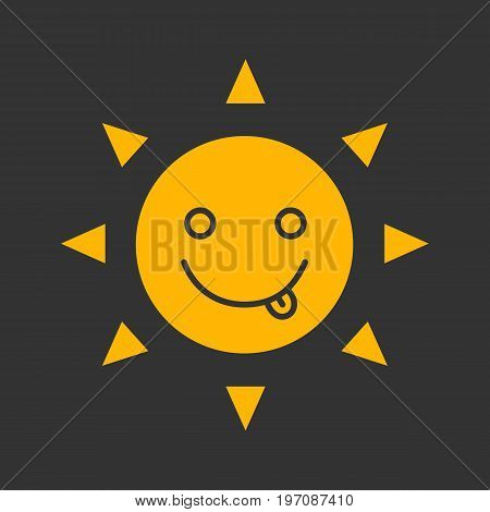 Yummy sun smile glyph color icon. Silly, goofy, foolish sun emoticon. Silhouette symbol on black background. Negative space. Vector illustration