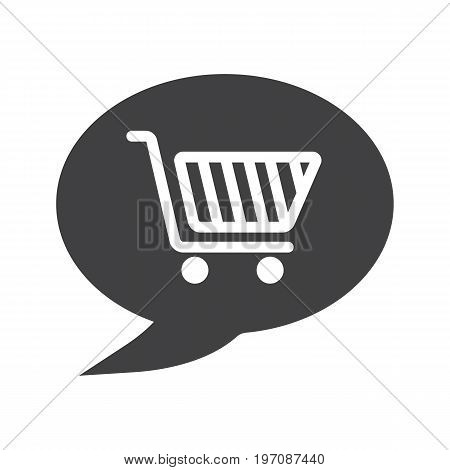Talk about shopping glyph icon. Silhouette symbol. Chat box with shopping cart. Negative space. Vector isolated illustration