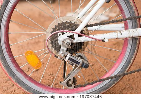 close up bike gear and wheel with chain background,