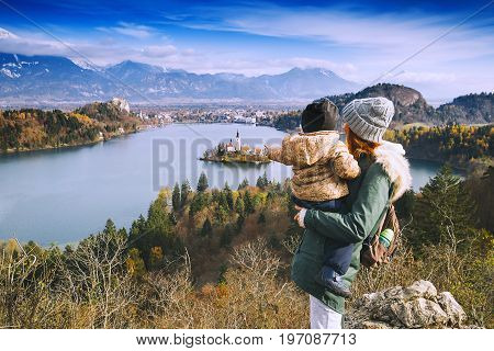 Traveling Family Looking On Bled Lake, Slovenia, Europe