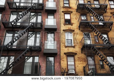 Facade in Brooklyn, New York, with their emergency stairs