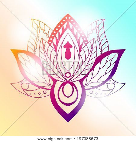 Lotus Mandala on a bright background. Vector ornamental Lotus ethnic zentang. Ornamental Boho Style lotus Flower. Indian Lotus. Lotus Mehndi. Vector illustration. Yoga India arabic om