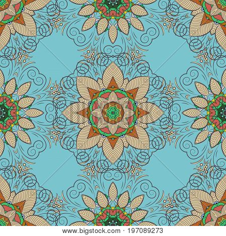 Vector ornate zentangle texture endless pattern with abstract flowers. Seamless pattern can be used for sketch web page background surface textures. Seamless pattern with flowers.