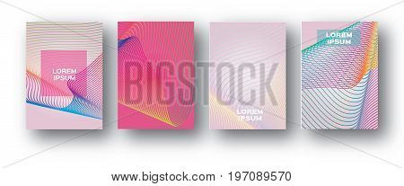 Set of 4 Trendy Colorful Gradient Future Geometric Shapes Covers template. Minimal geometry halftone design for banners, flyers, invitation, posters, brochure, voucher discount. Vector illustration