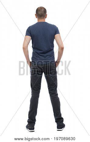 Back view of man in trousers. Standing young guy. Rear view people collection.  backside view of person.  Isolated over white background.