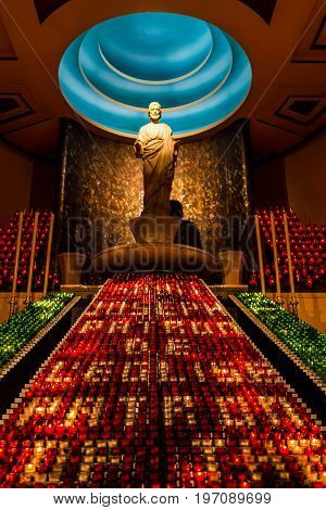 Montreal, Canada - May 28, 2017: St Joseph's Oratory On Mont Royal With Statue Of Frere Andre And Cl