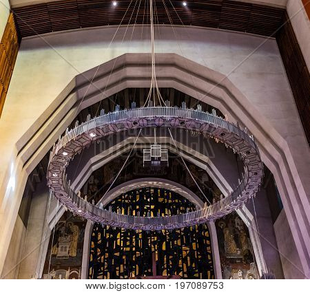 Montreal, Canada - May 28, 2017: Inside St Joseph's Oratory On Mont Royal With View Of Chandelier In