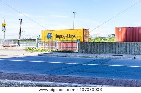 Montreal, Canada - May 28, 2017: Hapag Lloyd Truck Train Cargo Shipping Container Trailer In Quebec