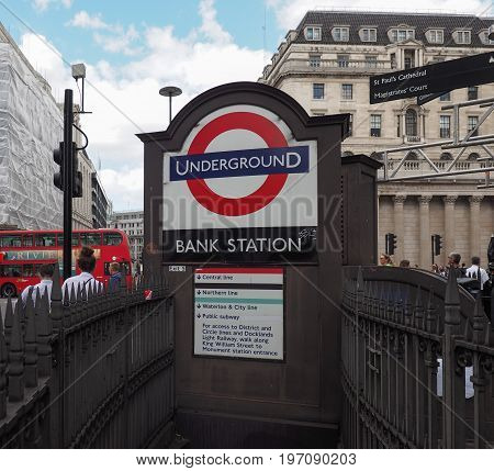 Bank Tube Station In London