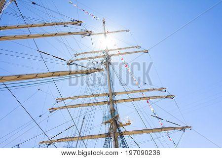 The Tall Ships Races Kotka 2017. Kotka, Finland 16.07.2017. Masts Of Barque Kruzenshtern In The Sunl