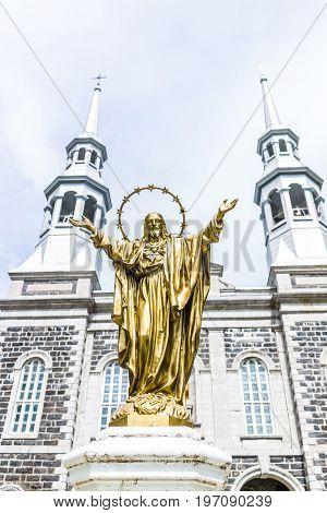 Champlain, Canada - May 29, 2017: Notre Dame De La Visitation Stone Church In Small Town On Chemin D