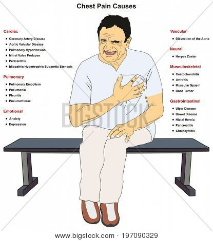 Chest Pain Common Causes infographic diagram including cardiac pulmonary emotional vascular neural musculoskeletal gastrointestinal for medical science education and healthcare