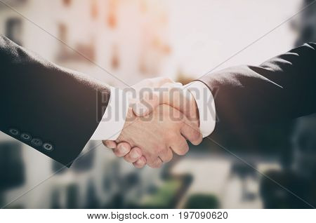 Business handshake business people agreement. deal investor agree real estate agent concept