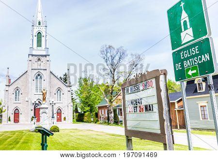 Batiscan, Canada - May 29, 2017: Parish Of Saint Francois Xavier De Batiscan Sign In Small Town On C