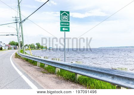 Batiscan, Canada - May 29, 2017: City Sign In Small Town On Chemin Du Roy